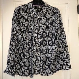 Talbots Petite navy and white blouse